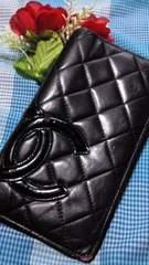 鑑定済1番人気のブラックCHANELカンボン長財布