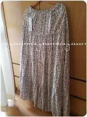 GU/新品タグ付/パッチワーク風小花柄ふんわりロングスカート