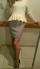 100円スタートBORNYグレー美脚タイトスカート サイズS