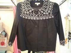 白黒丸襟刺繍7分袖パフスリーブショート丈ジャケットS〜M