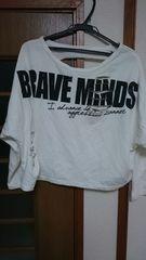 古着 英字模様のダメージTシャツ L