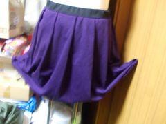 フレアースカート膝丈新品サイズLLパープル色