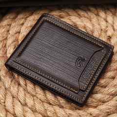 送料無料 多機能二つ折り財布 パスケース付 カード10枚 茶色