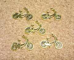自転車チャーム5個アンティークゴールド