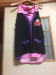 100スタセール*キティちゃん重ね着風トップスL *クリックポスト185円