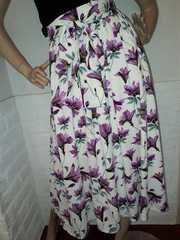 花柄 スカート 上品 パープル S