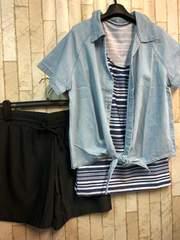 新品☆L水着4点セット!デニムシャツ付き♪セパレート☆s291