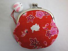 和小物 和柄大ぶりがま口財布サイフ・小銭入れ桜楓うさぎ赤