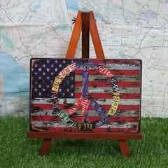 新品【ブリキ看板】USA/星条旗&ピースマーク