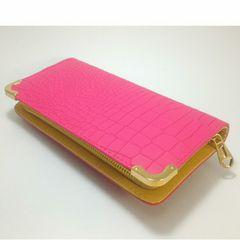 【大幅値下げ】キュ〜ト★クロコダイル型押し長財布(ピンク)