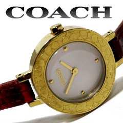 美品 1スタ★コーチ/Coach GOLD×REDが美しい腕時計
