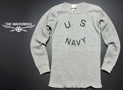 サーマルワッフル長袖TシャツS 米海軍ロゴ U.S.NAVY/グレー