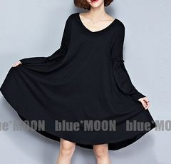 【2L3L】大きいサイズ!袖&裾フレア着痩せワンピース