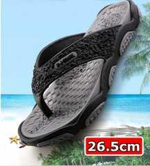【新品】 軽量フラット ラバーソール ビーチ サンダル 灰 26.5cm