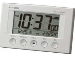 リズム時計 電波 目覚まし 時計 デジタル白