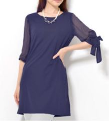 新品【7252】【3L】紺シフォ袖リボン付の可愛いチュニック