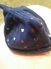 新生児-44ベイビーキャップくま耳付き帽子ネイビーミキハウス風