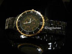 新品★腕時計クロノグラフ風ゴールド ブラック /シャネル好きに