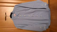 激安90%オフカジュアル、長袖シャツ(美品、青、ポケット、LL)
