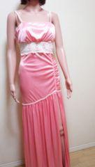 キャバ…光沢ピンクのシャーリング沢山ドレス☆3点☆即落