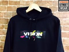 表記M/新品!ヴィジョン.VISION.ボックスロゴプリント.パーカー.黒.スケータースタイル