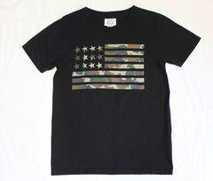 B.C. STOCK★U.S.A.コットン カモフラ国旗プリントTシャツ(S)/used