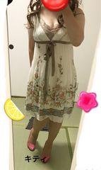 シフォンプリーツ花柄ワンピース(難有) M
