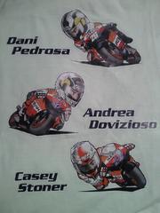 バイク レース MotoGP レプソル ホンダ HRC ライダー イラスト デザイン Tシャツ ホワイト