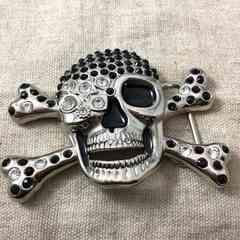 スカルのバックル★ドクロのベルトバックル★髑髏ブラック骸骨