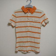 GAP ギャップ S 薄手 ポロシャツ 半袖 オレンジ×ベージュ
