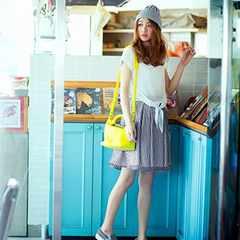 【美品】レッセパッセ膝丈ギンガムチェックミニスカート