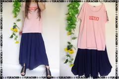 春新作◆大きいサイズ4Lピンクカットソー×ネイビー裾変形スカート2点セット