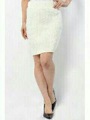 AZUL ケーブルニット タイトスカート Lサイズ 白