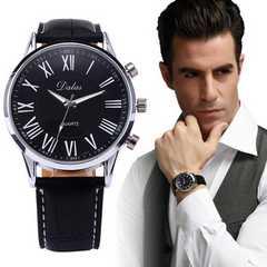 腕時計 ギリシャ文字 クォーツ レザー ベルトウォッチ ブラック