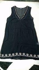 SABUROKU サブロク 刺繍 ノースリーブ ワンピース M 重ね着 シースルー 夏用