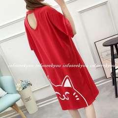 LL3L大きいサイズ/背開き~ねこプリントTシャツワンピース/赤