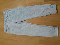 新品未着品 涼しげな水色バラ刺繍デニム/ジーンズ