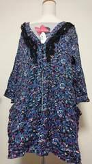 新品☆大きいサイズ3L青花柄チュニック七部袖