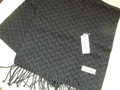 ミラショーン ヨコ糸カシミヤ100%マフラー濃紺