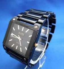 スクエアフェイスメタルウォッチBK-腕時計メンズ