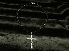◆オラオラ系アイテム◆ロザリオクロス×ブラックスピネル数珠ネックレス