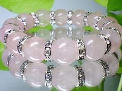パワーストーン☆天然石!!ローズクォーツ12ミリ数珠ブレス§銀ロンデル§恋愛運