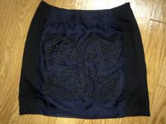 新品タグ付riendaリエンダエンブロイダリータイトミニスカートXS黒紺ブラック