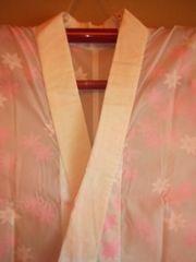 白/ピンクモミジ長襦袢化繊単衣レタR美品薄シミ