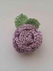 ハンドメイド ブローチ へアゴム 巻き巻き薔薇 アナスイ好き 紫