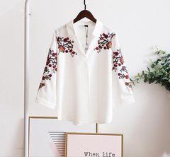 レディースシャツ ブラウス 刺繍 白シャツ 七分袖 S~L/AK281