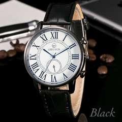 腕時計 ギリシャ文字 アナログ クォーツ レザー ウォッチ 黒