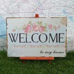 新品【ブリキ看板】Welcome/ようこそ! to my home