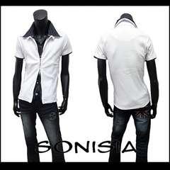 特価 ストライプフェイク付リブカットシャツ 白 LL[706012]