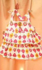 新品◆ダブルガーゼ2段フリルキャミソールチュニック90イチゴ苺